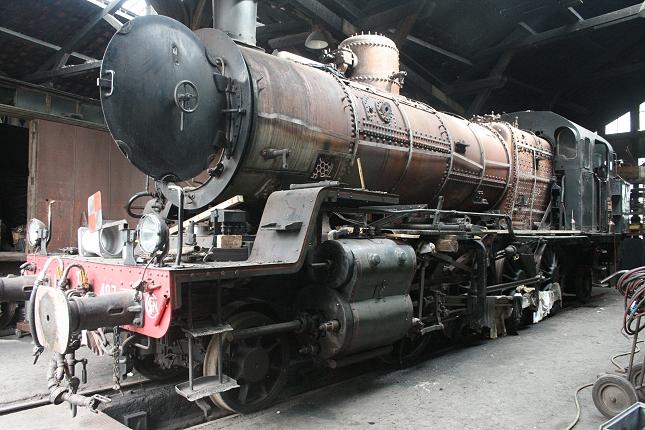 La locomotive à vapeur 141 TB 407 à l'atelier de Longueville (photo Ajecta / P.Berger)